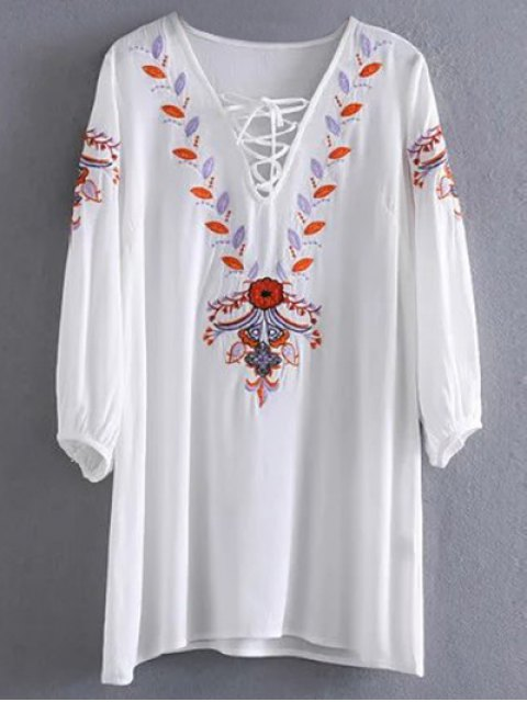 shop Embroidered Lace Up  Mini Tunic Dress - WHITE M Mobile