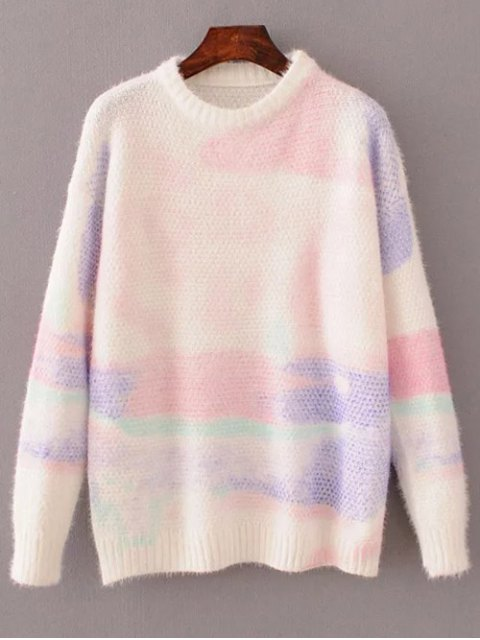 fashion Oversized Space Dye Sweater - WHITE ONE SIZE Mobile