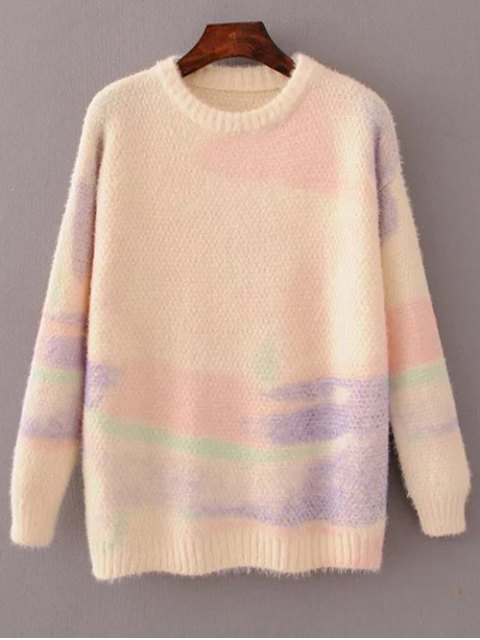chic Oversized Space Dye Sweater - PINK ONE SIZE Mobile