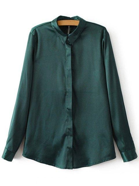 ladies Satins Formal Shirt - GREEN S Mobile