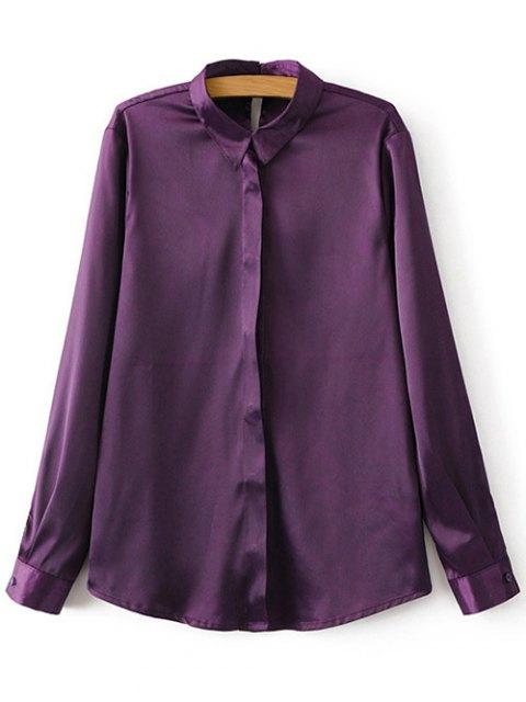 lady Satins Formal Shirt - PURPLE L Mobile