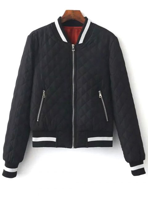 trendy Zip Up Padded Pilot Jacket - BLACK S Mobile