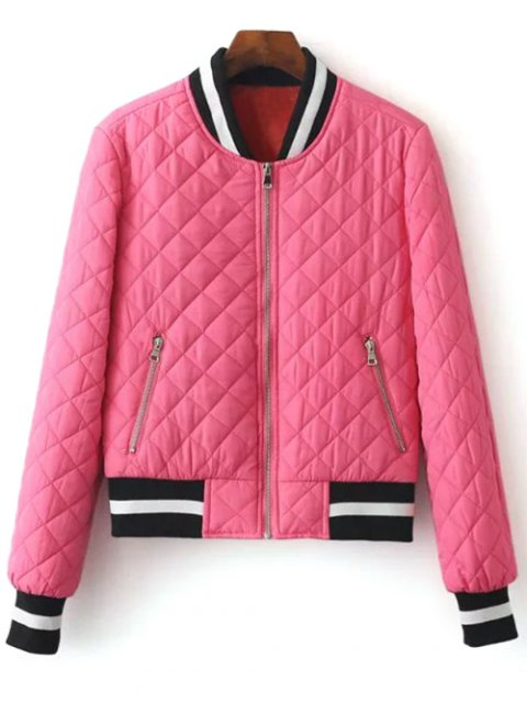 fashion Zip Up Padded Pilot Jacket - ROSE RED L Mobile