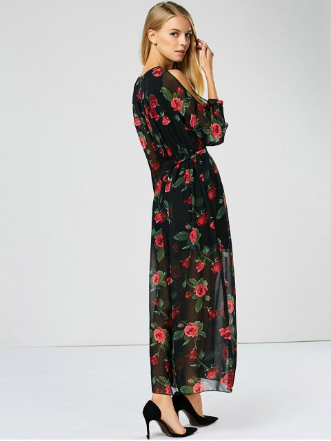 ladies Floral See Through Maxi Swing Dress - BLACK S Mobile