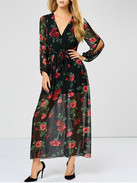 women's Floral See Through Maxi Swing Dress - BLACK M Mobile
