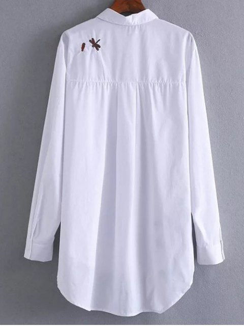 hot High Low Insects Embroidered Shirt - WHITE S Mobile