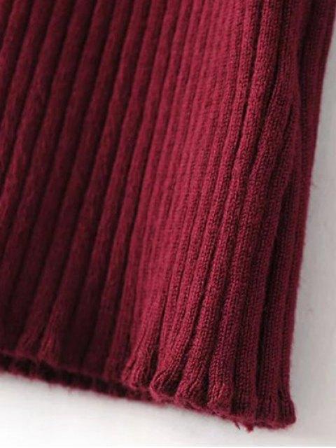 trendy Turtleneck Sleeveless Sweater Dress - BURGUNDY ONE SIZE Mobile