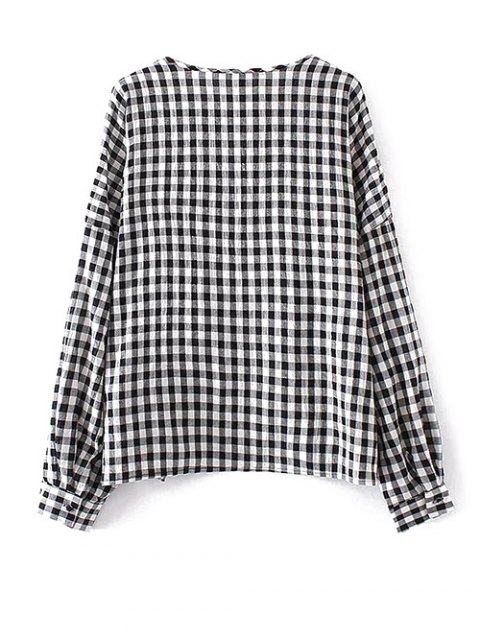affordable Keyhole Gingham Check Blouse - WHITE AND BLACK L Mobile