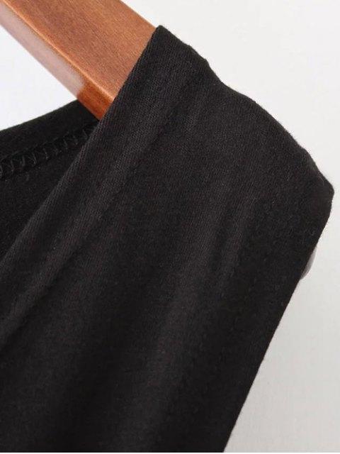 trendy Midi Flared Tank Dress - BLACK L Mobile