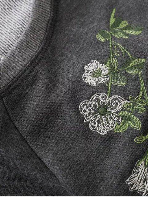 latest Embroidered Raglan Pullover Sweatshirt - GRAY M Mobile