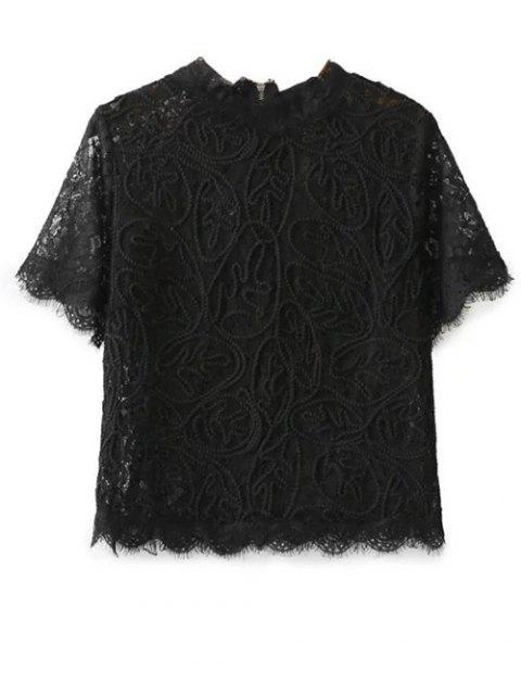 women Mock Neck Lace Top - BLACK L Mobile