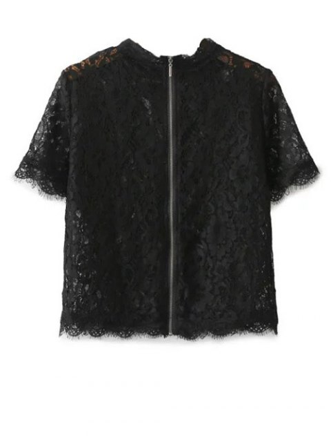 ladies Mock Neck Lace Top - BLACK S Mobile