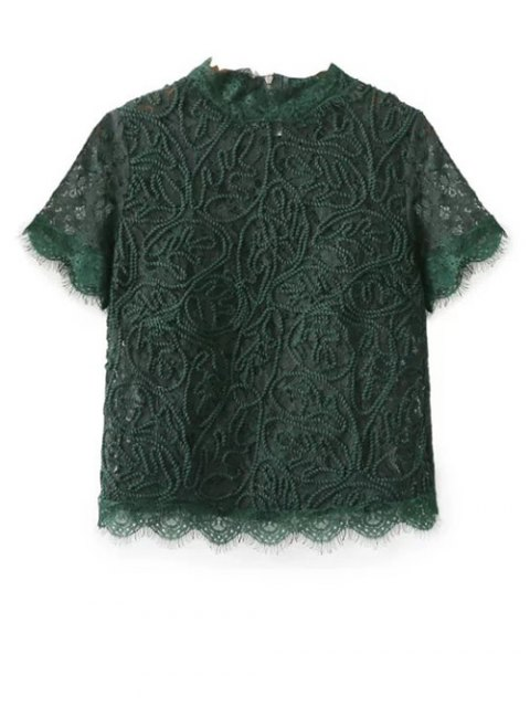best Mock Neck Lace Top - GREEN M Mobile