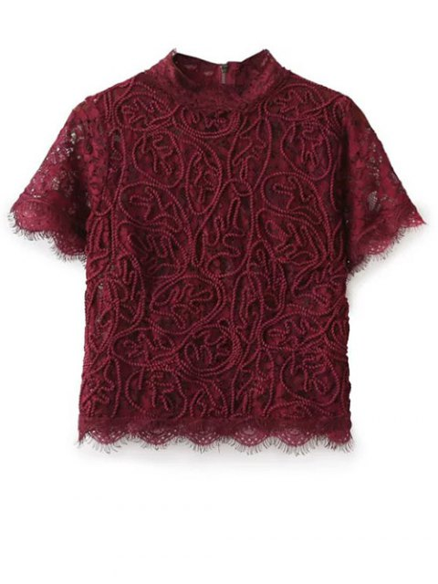 new Mock Neck Lace Top - BURGUNDY L Mobile