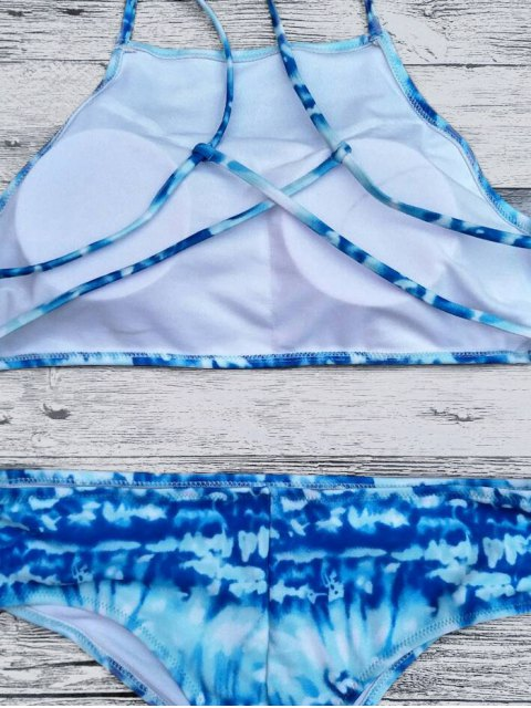best Crosscriss Tie-Dyed Bikini Set - BLUE S Mobile