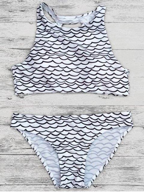 new Cut Out Wavy Print Cropped Bikini Set - BLACK M Mobile