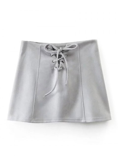 affordable Faux Suede Lace Up Mini Skirt - GRAY L Mobile