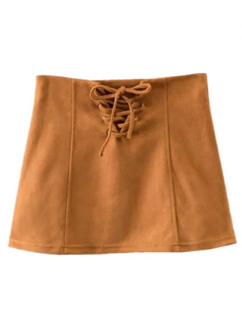 ladies Faux Suede Lace Up Mini Skirt - CAMEL S Mobile