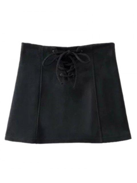 lady Faux Suede Lace Up Mini Skirt - BLACK L Mobile
