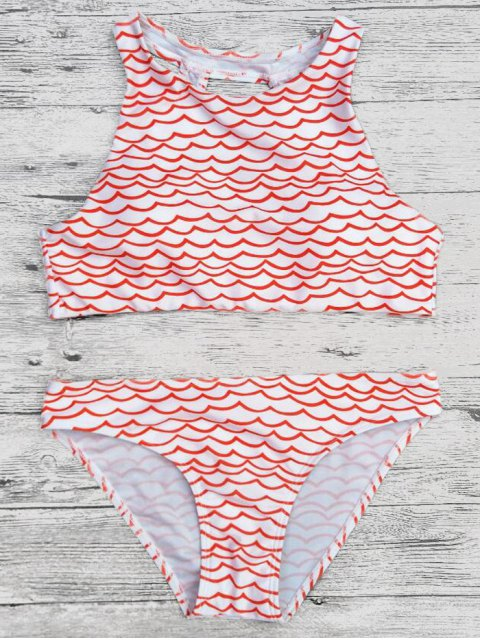 outfits Cut Out Wavy Print Cropped Bikini Set - RED M Mobile