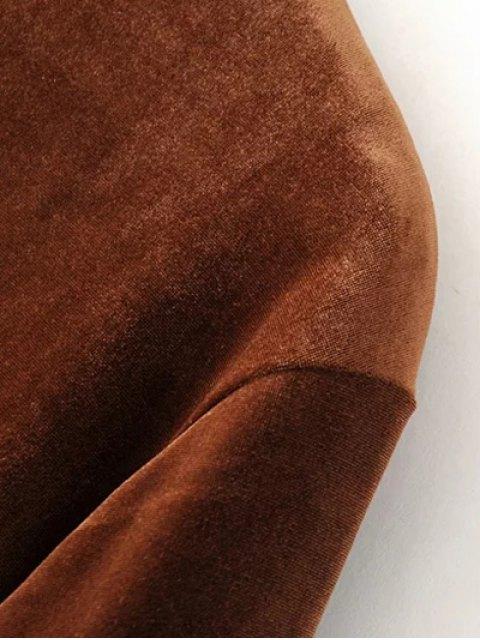fancy Velvet Tunic Dress - BROWN S Mobile