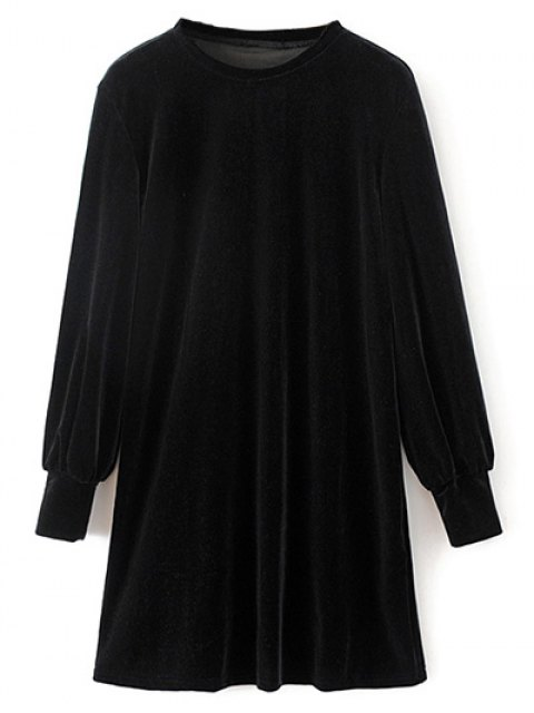 affordable Velvet Tunic Dress - BLACK S Mobile