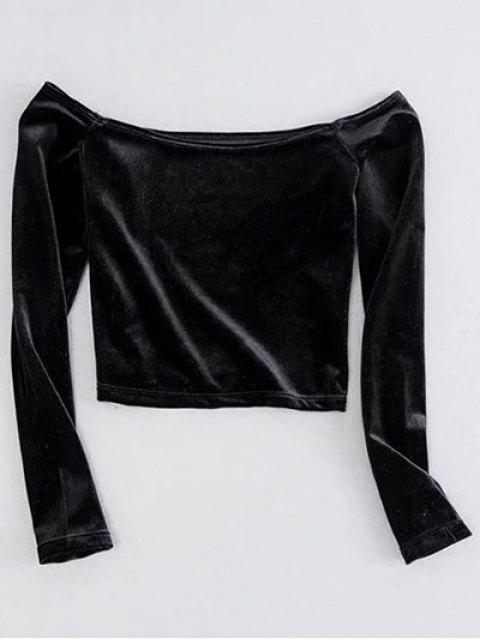 trendy Off The Shoulder Cropped Velvet Top - BLACK S Mobile