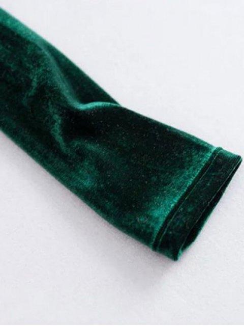 fashion Off The Shoulder Cropped Velvet Top - BURGUNDY M Mobile