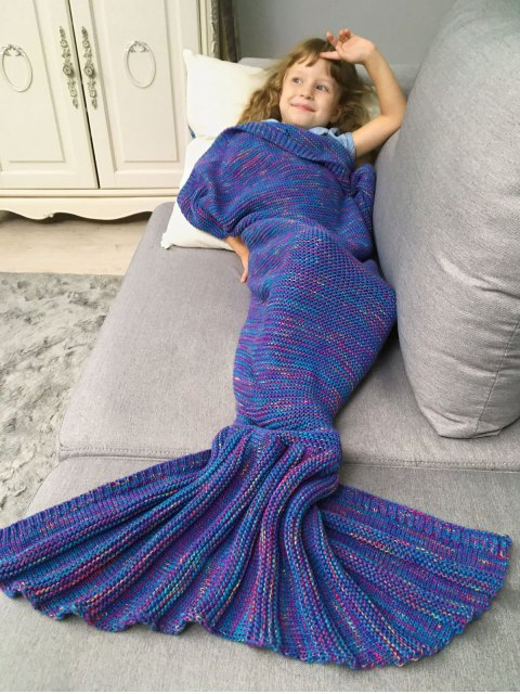 buy Mix Color Kids' Knit Mermaid Blanket Throw -   Mobile
