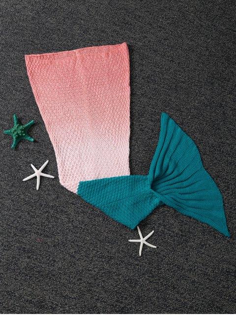 women's Kids' Ombre Crochet Knit Mermaid Blanket Throw -   Mobile