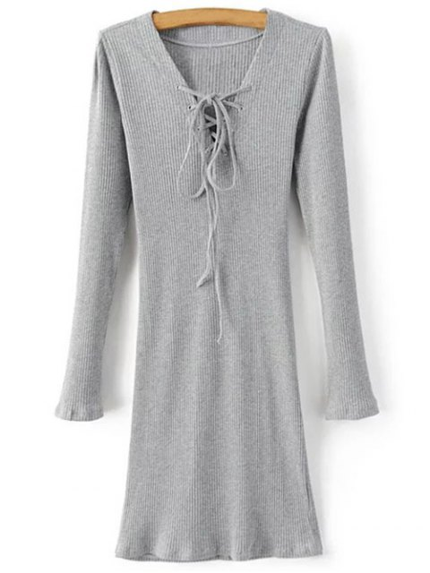 lady Long Sleeve Ribbed Lace Up Bodycon Dress - GRAY S Mobile