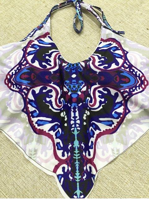 unique Halter Printed Layered Bikini Set - PURPLISH BLUE L Mobile