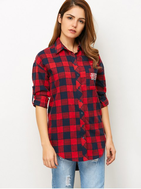 hot Letter Checked High-Low Shirt - RED L Mobile