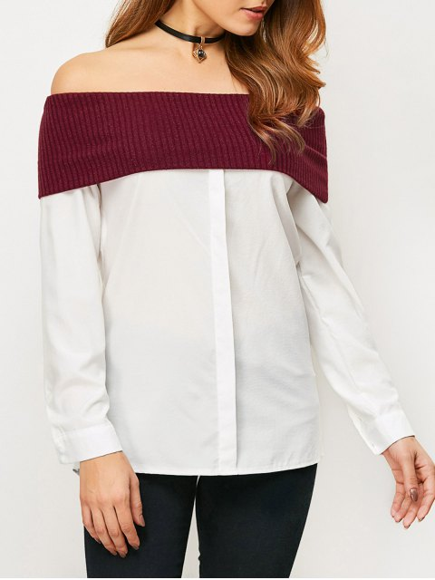 outfits Knitting Panel Off The Shoulder Blouse - WHITE XL Mobile