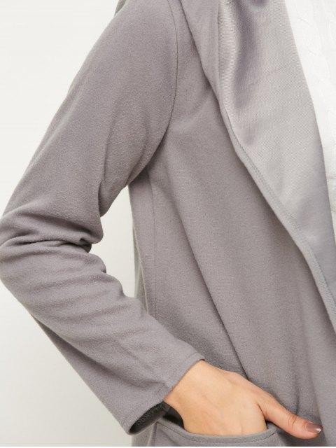 lady Cotton Open Front Coat - GRAY L Mobile