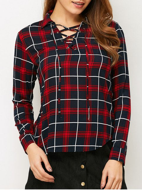 fancy Checked Lace-Up Shirt - PLAID S Mobile