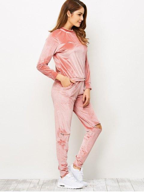 shop Zippers Velvet T-Shirt and Sports Pencil Pants - ORANGEPINK XL Mobile