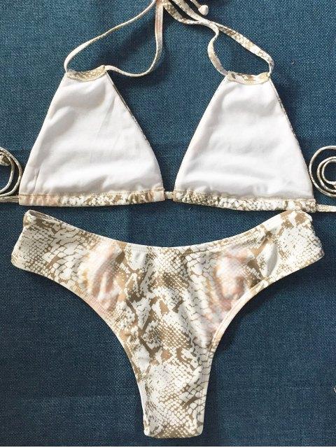 women Python Print Halter String Bikini - MULTICOLOR L Mobile
