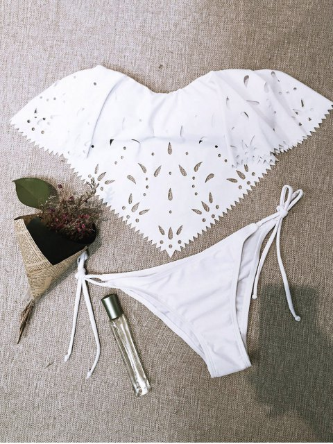 hot Strapless Cutwork String Bikini - WHITE L Mobile