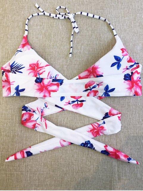 online Floral Halter Wrap Bikini Set - FLORAL S Mobile