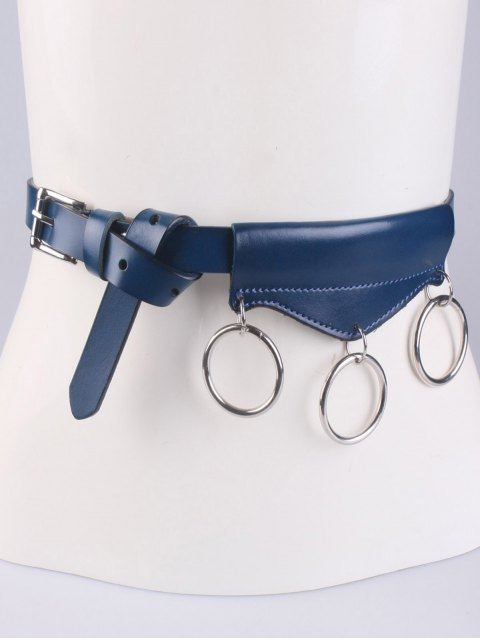 ladies Faux Leather Waist Belt - CADETBLUE  Mobile