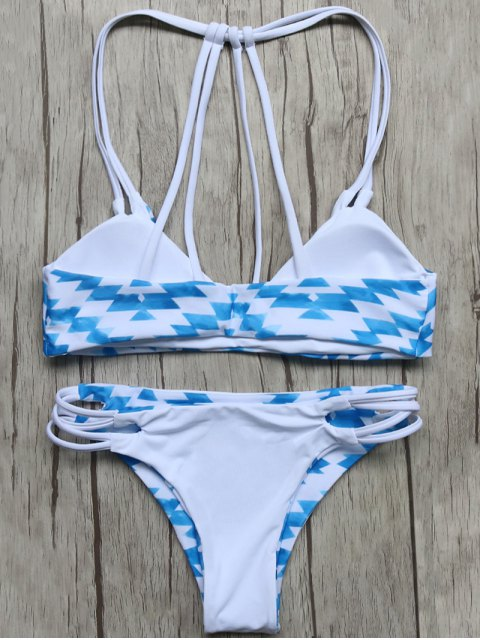 buy Geometric Pattern Padded Stringy Bikini - BLUE AND WHITE S Mobile