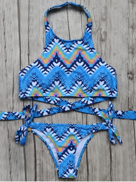 shop High Neck Zig Zag Bikini Top and Bottoms - BLUE L Mobile