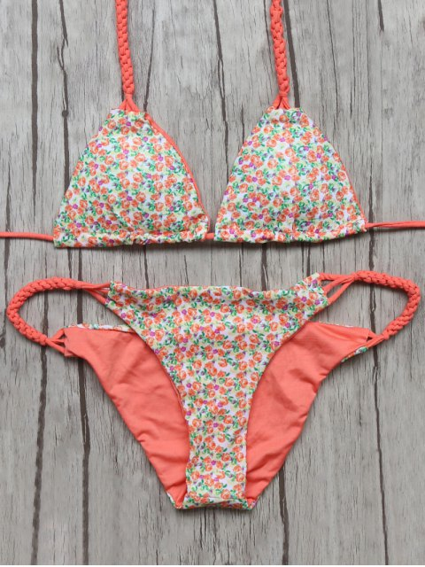 buy Small Floral Braided String Bikini Set - FLORAL M Mobile
