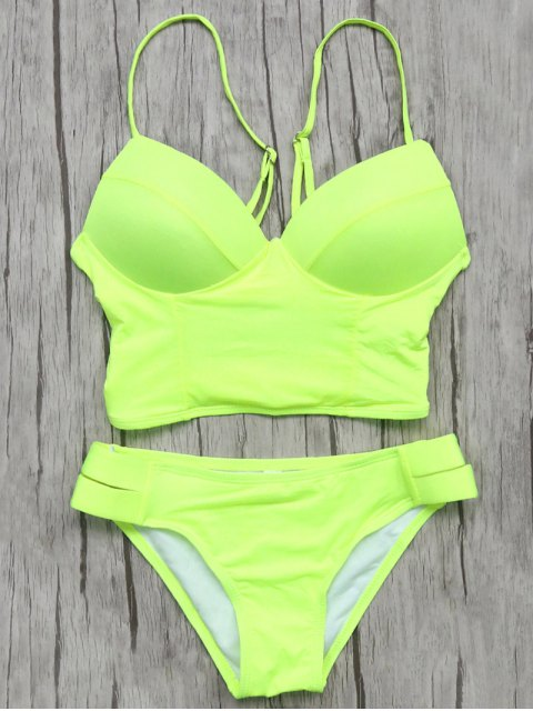 new Long Line Bikini Top and Bottoms - NEON GREEN L Mobile