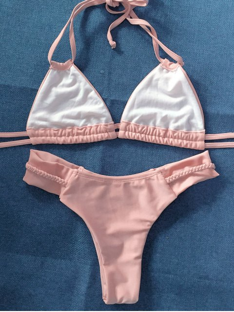 women String Crossover Bikini Set - PINKBEIGE XL Mobile