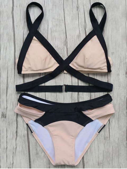 outfits Patchwork Bandage Bikini Set - PINK L Mobile