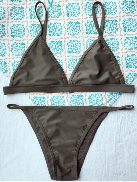 lady Unlined Cami Bikini - ARMY GREEN L Mobile