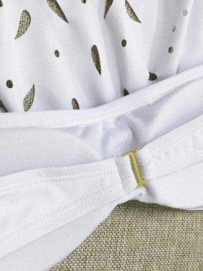Strapless Cutwork String Bikini - WHITE M Mobile