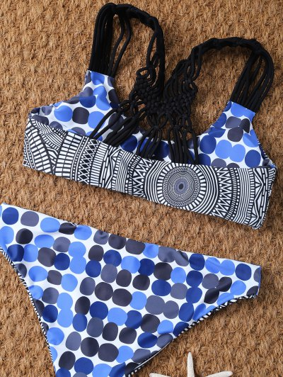 Polka Dot Tribal Print Bikini Top and Bottoms - MULTICOLOR M Mobile